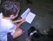 Young reader -overhead - with Gracie