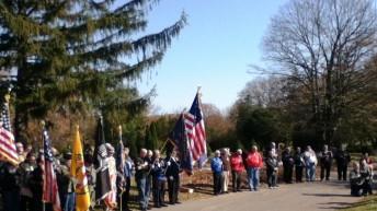 Assembled along walkway-Flags