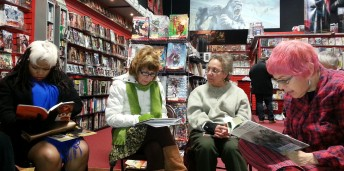 Some OutLOUD friends reading together at Comic Book Jones Comic Book Jones