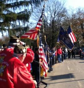 Flags at walkway - tighter shot
