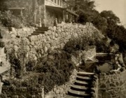 Pond-Stone steps - Shaded portico Sepia